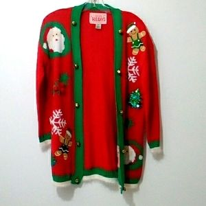 Urban Heritage happy holidays open holiday cardigan with bells